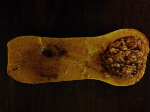 Dinner: Cinnamon Sugar Roasted Butternut Squash Stuffed with Cranberry Risotto