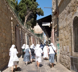 Pilgrims along the Via Dolorosa