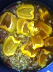 simmering bell pepper soup