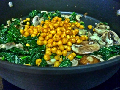 chickpeas mushrooms and kale